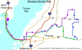 Map for the Skyway Secrets Motorcycle Ride in Central Florida